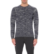Orlebar Brown Patterned Knit Wool Jumper Charcoal