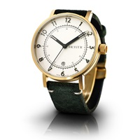 Bravur Watches Gold Case White Face And Olive Strap Gold Green White