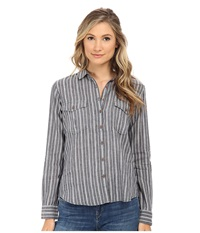 Maison Scotch Cotton Linen Safari Inspired Shirt Grey Women's Long Sleeve Button Up Gray