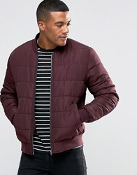 Asos Quilted Bomber Jacket In Burgundy Burgundy Red