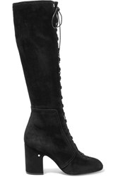 Laurence Dacade Mina Lace Up Suede Knee Boots Black