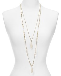 Aqua Demetria Layered Feather Necklace 27 White