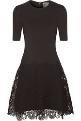 Lela Rose Matelasse Stretch Cotton And Lace Dress