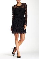 Madison Marcus Lace Fit And Flare Dress Black
