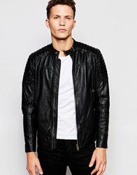 Selected Homme Leather Jacket Black