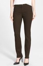 Lafayette 148 New York Snake Jacquard Curvy Fit Slim Leg Jeans Brown