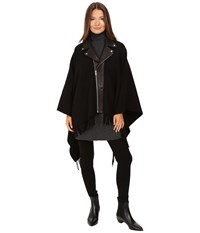 The Kooples New Wool Poncho With Perfecto Leather Collar Black