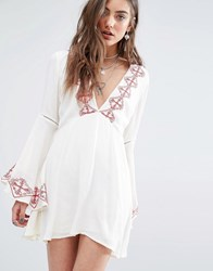Kiss The Sky Plunge Neck Dress With Embroidered Detail Cream