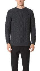 Ports 1961 Cable Sweater Charcoal