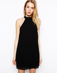 Fashion Union Halter Neck Swing Dress Black