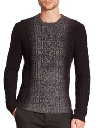 Vince Marled Degrade Cable Knit Sweater Black Multi