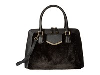 Calvin Klein On My Corner Saffiano Fur Satchel Black Black Fur Satchel Handbags