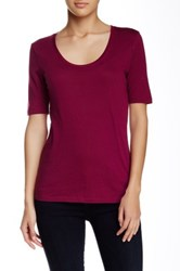 Susina Elbow Length Sleeve Scoop Neck Tee Petite Purple
