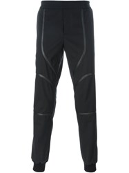 Les Hommes Leather Detail Trousers Black