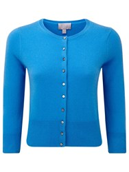 Pure Collection Blake Cashmere Cropped Cardigan Greek Blue