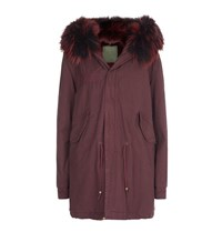 Mr And Mrs Italy Fur Lined Midi Parka Female Red