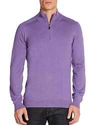Saks Fifth Avenue Silk Cotton And Cashmere Zip Front Pullover Purple