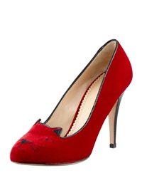 Charlotte Olympia Kitty Cat Embroidered Velvet Pump Red Red Black 42.0B 12.0B