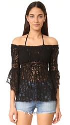Temptation Positano Off The Shoulder Lace Top Black