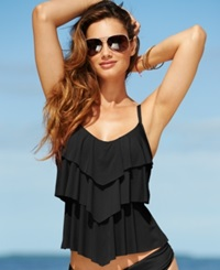 Kenneth Cole Reaction Tiered Ruffle Tankini Top Women's Swimsuit Black