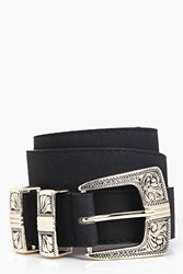 Boohoo Suedette Metal Tipped Western Belt Black
