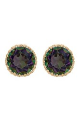 10K Yellow Gold Round Cut Mystic Topaz Crown Earrings Multi