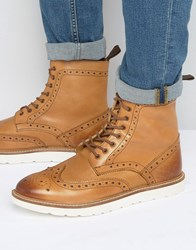 Frank Wright Brogue Boots With Contrast Sole Tan