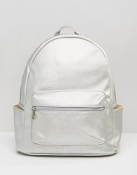 Daisy Street Metallic Backpack Silver