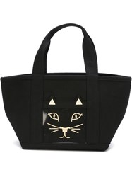 Charlotte Olympia Embroidered Cat Tote Black