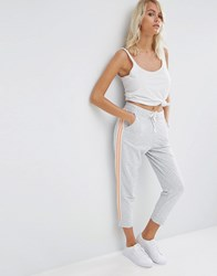 Asos Cropped Joggers With Side Stripe Grey Marl