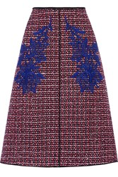 Marc Jacobs Floral Appliqued Wool Tweed Midi Skirt Red