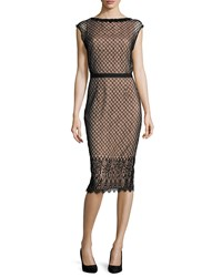 Rachel Gilbert Savannah Cap Sleeve Lace Dress Black Nude