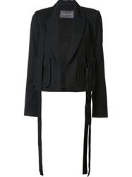 Monique Lhuillier Patch Pocket Draped Blazer Black