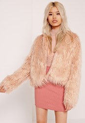 Missguided Shaggy Faux Fur Coat Pink Brown