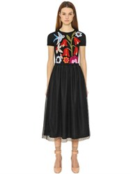 Red Valentino Intarsia Wool Knit And Tulle Dress