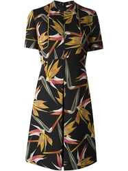 Fendi Bird Of Paradise Flower Print Dress Black