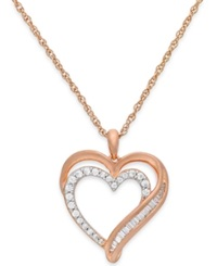 Macy's Diamond Heart Pendant Necklace In 10K Rose Gold 1 10 Ct. T.W.