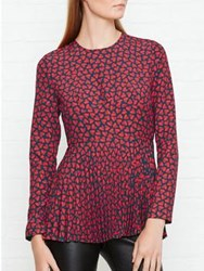 Paul Smith Ps By Half Heart Peplum Top Red