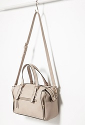Forever 21 Side Zip Faux Leather Satchel Taupe