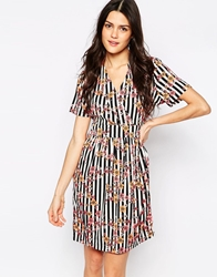 Vero Moda Printed Wrap Front Shirt Dress Pinkcombo