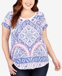 Lucky Brand Trendy Plus Size Printed T Shirt White