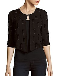Milly Open Front Tassel Jacket Black