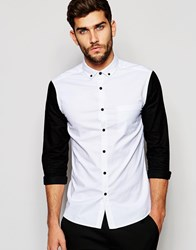Asos Skinny Oxford Shirt With Contrast Sleeves And Buttons White Black
