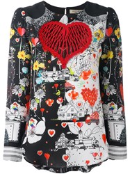Piccione.Piccione Piccione. Piccione Embroidered Heart Printed Blouse Black