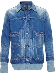 Mihara Yasuhiro Distressed Denim Shirt Jacket Blue