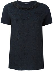 Max Mara 'S 'Pucci' Embroidered T Shirt Blue