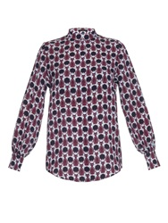 Mother Of Pearl Temple Cat Print Silk Shirt