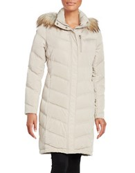 Calvin Klein Faux Fur Trimmed Hooded Long Quilted Down Coat Barley