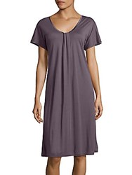 Hanro Astrid Short Sleeve Gown Elderberry