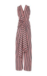 Tome Striped Cotton Bow Front Jumpsuit